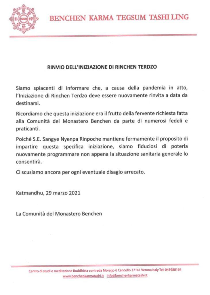 Iniziazione Rinchen Terdzo italiano